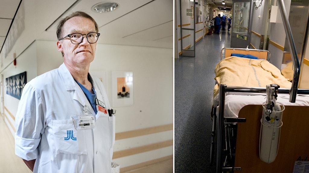 Delad bild: Läkare och tom sjukhussäng i en korridor.