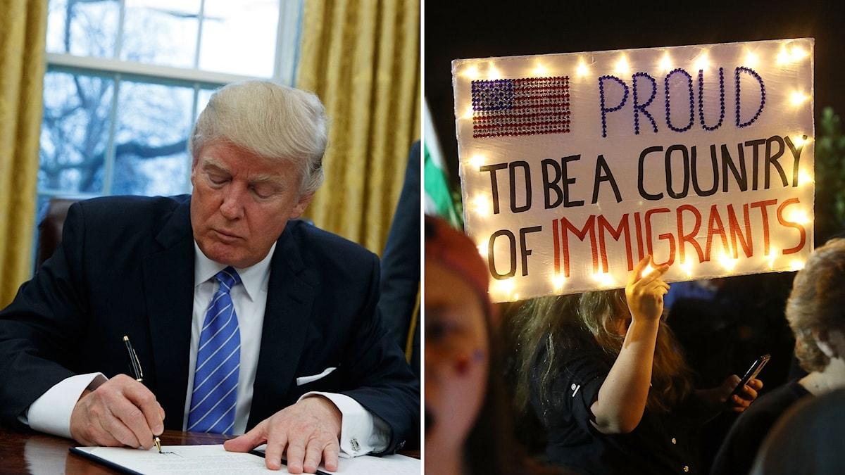 Trumps order om inreseförbud möts av stora protester