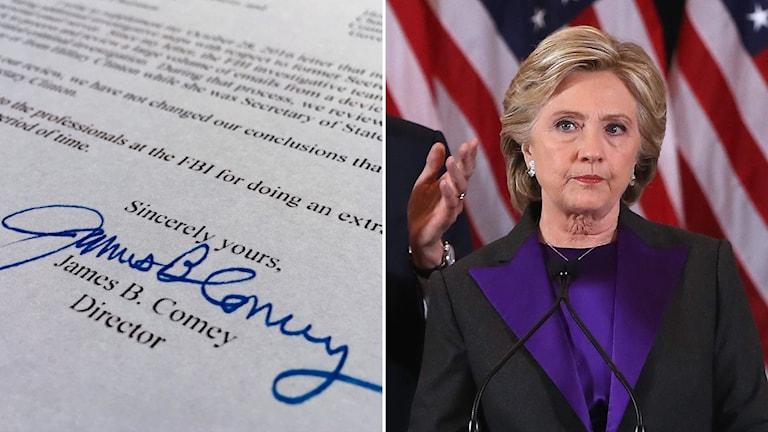 Delad bild: Brevet från FBI och Hillary Clinton.