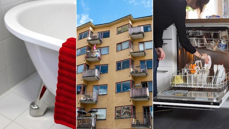 Badkar, lägenhetshus och diskmaskin