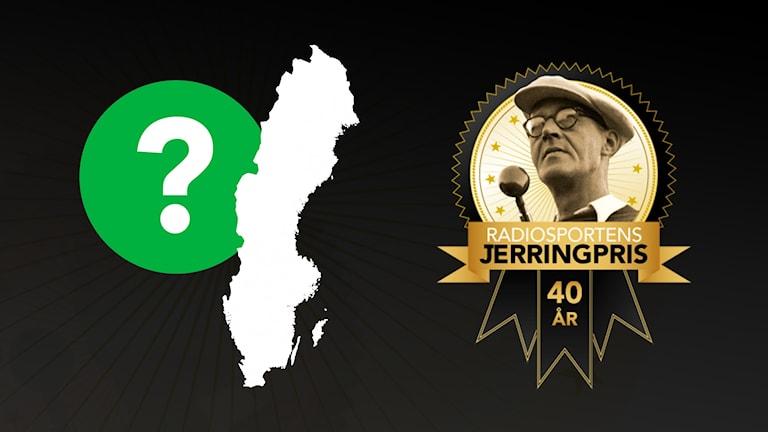 Ett frågetecken vid en sverigekarta, samt Jerringpris-logotypen