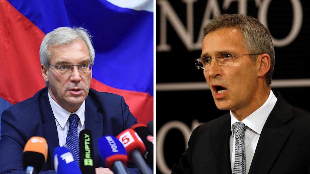 Rysslands Nato-ambassadör Alexander Grushko och Natos generalsekreterare Jens Stoltenberg.