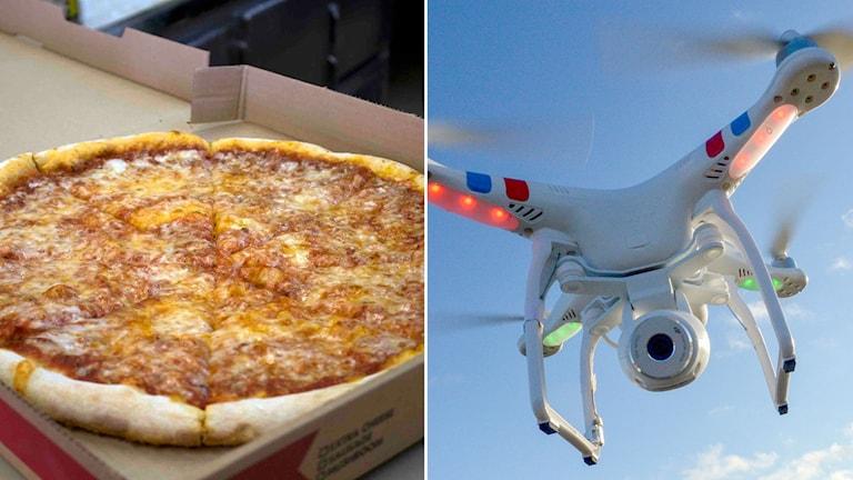 Pizza i kartong. Drönare mot blå himmel.