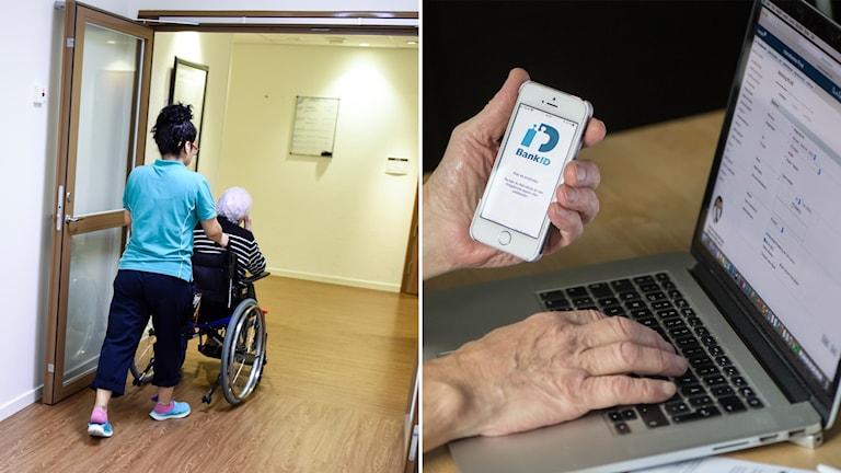 Delad bild: Äldreboende och en person som loggar in på en dator med hjälp av Bank-ID.