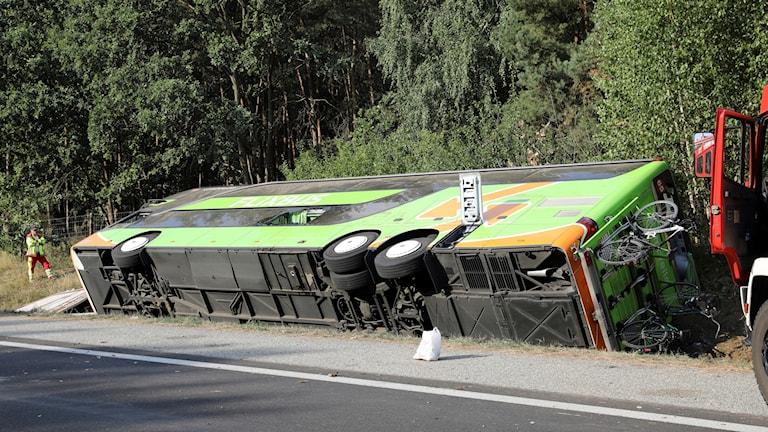 ووقع الحادث في تمام الساعة السادسة والثلاثين دقيقة صباحاً عندما انتهت الحافلة لأسباب غير معروفة في خندق على الطريق السريع