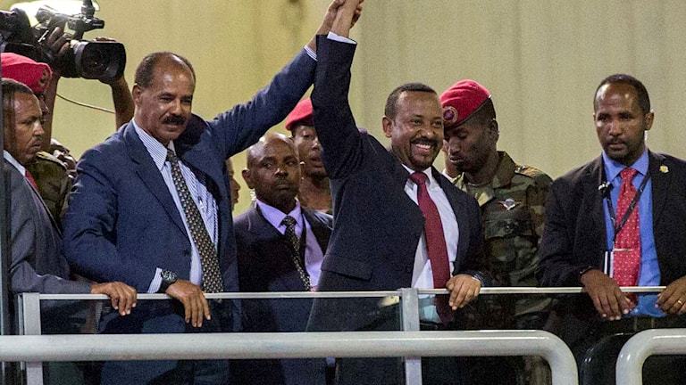 Eritreas president Isaias Afwerki och Etiopiens premiärminister Abiy Ahmed.och