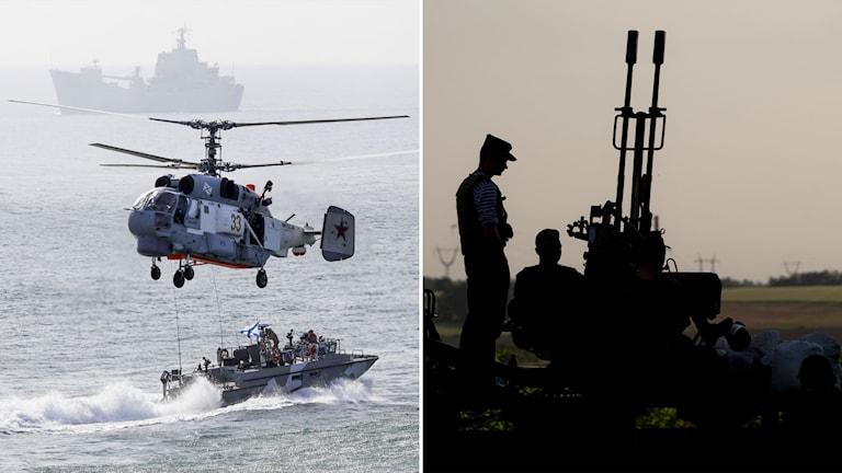Rysk helikopter och ryska fartyg vid en militärövning.
