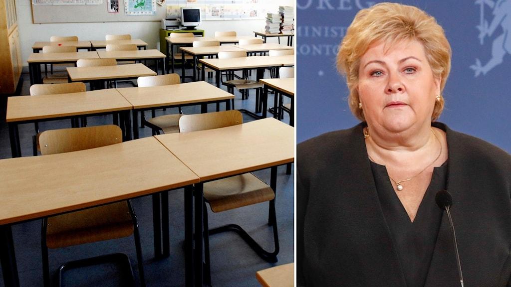 Klassrum och Erna Solberg.
