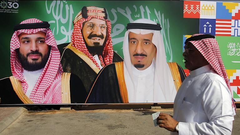 Väggmålning i Riyadh föreställande kronprins Mohammed bin Salman, kung Salman och Saudiarabiens grundare, kung Abdul Aziz Al Saud.