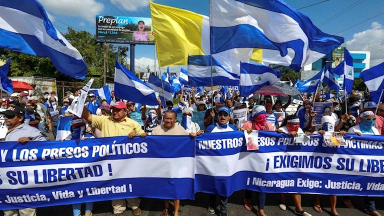 Demonstranter i Nicaragua.