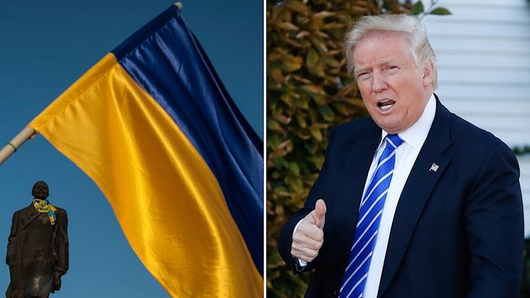 Donald Trump och den Ukrainska flaggan.
