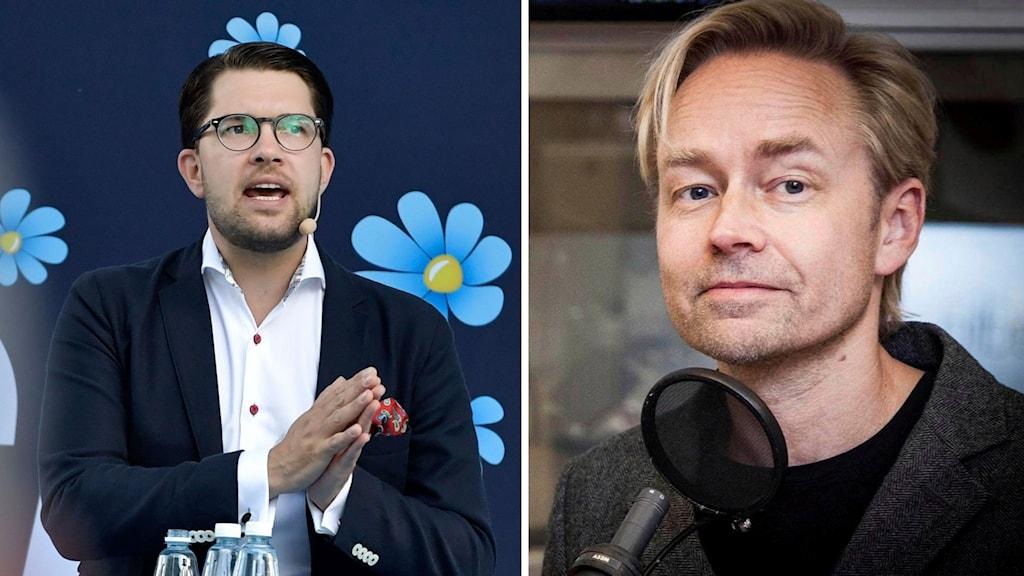 Bildmontage av Fredrik Furtenbach och Sverigedemokraternas partiledare Jimmie Åkesson.