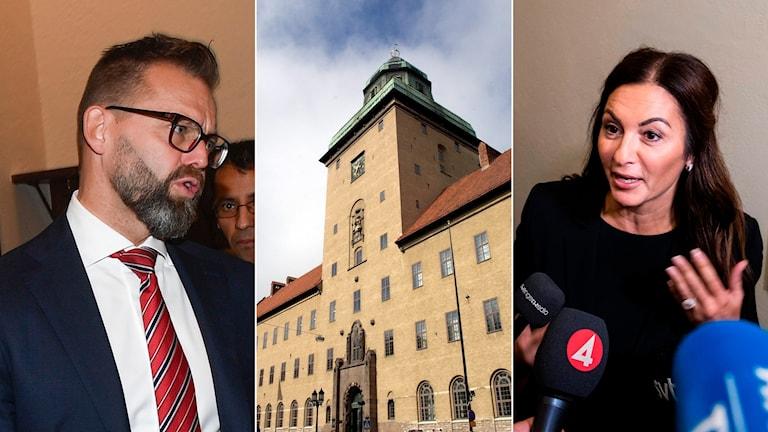 Kulturprofilens advokat Björn Hurtig och kvinnans biträde Elisabeth Massi Fritz vid första rättegångsdagen i Stockholms Tingsrätt.