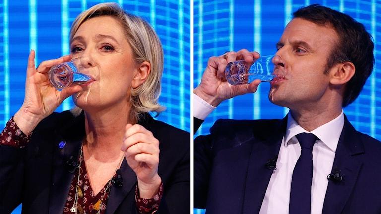 Marine Le Pen och Emmanuel Macron ställs mot varandra i kväll.