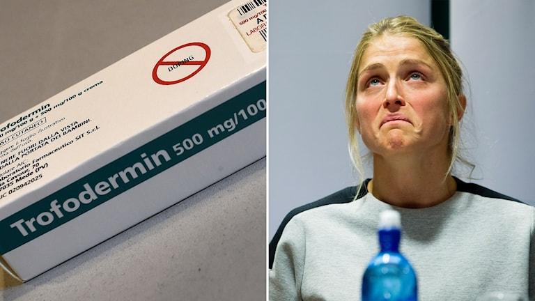 Delad bild: medicinförpackning med dopningmärkning och ledsen Therese Johaug
