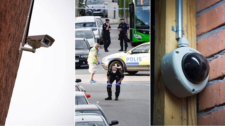 Övervakningskamera på husvägg, i mitten poliser på en brottsplats, till höger övervakningskamera på en dörrkarm.