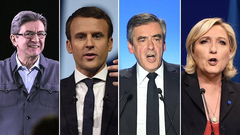 Bildkollage med Jean-Luc Mélenchon Emmanuel Macron François Fillon Marine Le Pen