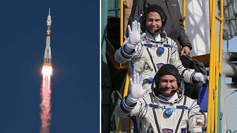 Nasa-astronauten  Nick Hague och Rocosmos-kosmonauten Alexej Ovchinin innan avfärden på torsdagen.