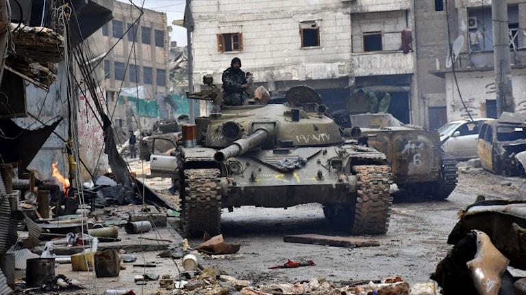 Militära styrkor i norra Aleppo onsdagen den 14 december.