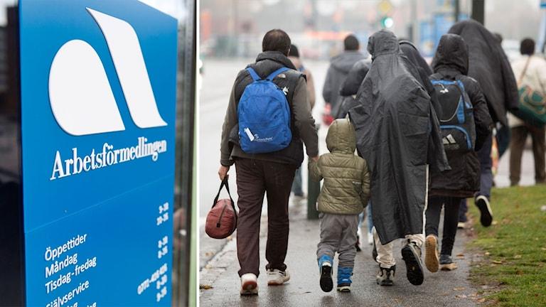 Delad bild: En skylt till Arbetsförmedlingen och en flyktingfamilj med ryggsäckar.