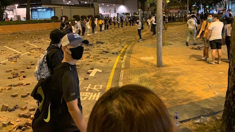 Mänsklig kedja på Hongkongs gator.