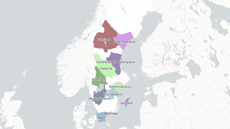 Karta: Svenska hertigdömen.