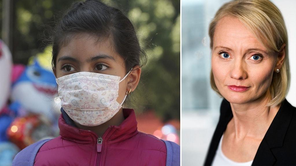 Till vänster: barn i skyddsmask i Mexiko. Till höger: Karin Tegmark Wisell, Folkhälsomyndighetens chef för mikrobiologi.