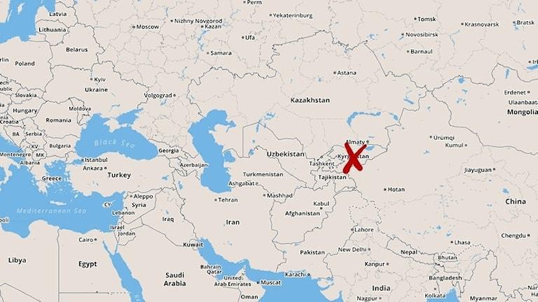 Karta som visar var flygkraschen skedde.