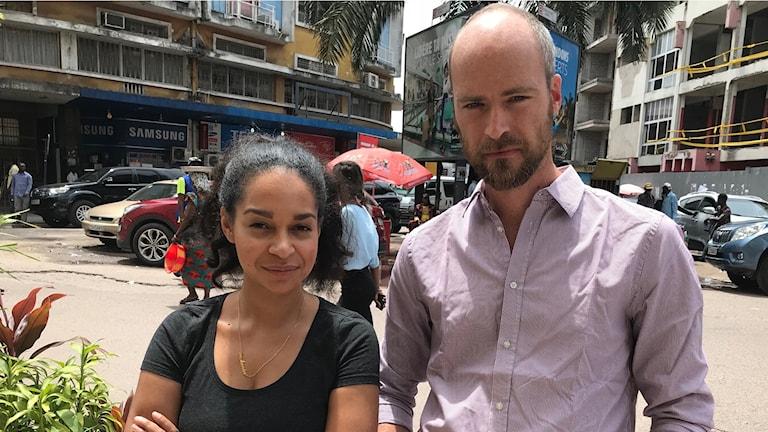 Palmira Koukkari Mbenga, Samuel Larsson, Kinshasa. Foto: Sveriges Radio.