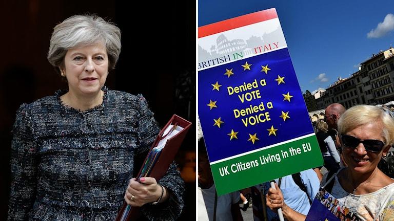 Bildkollage med Theresa May och en kvinna med ett plakat.