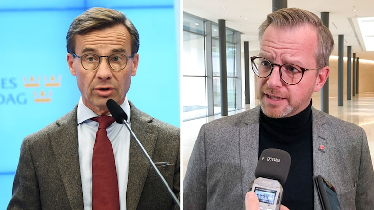 Kollage av Ulf Kristersson(M) och Mikael Damberg (S).