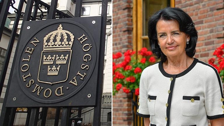 Bild på Högsta domstolens skylt och Anne Ramberg