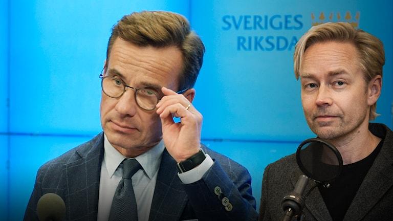 Ulf Kristersson, Moderaterna och Ekots politiska kommentator Fredrik Furtenbach.