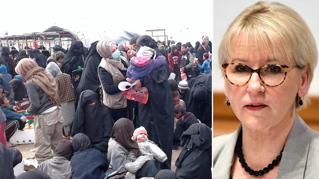 Bild från flyktingläger i Syrien och Margot Wallström.