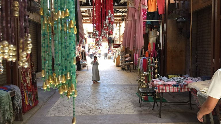 Öde bazargata i Luxor