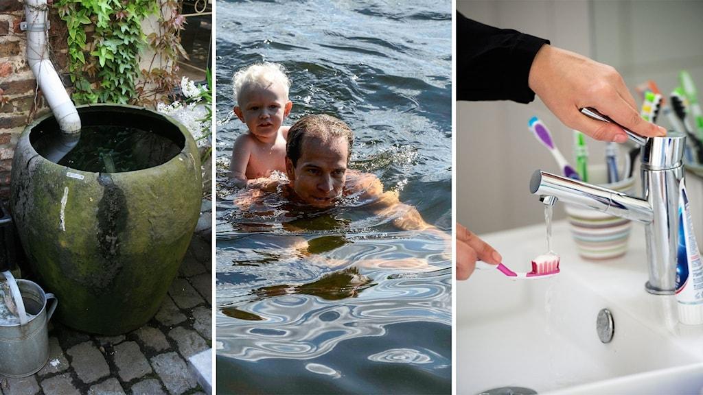 pappa simmar med litet barn, vatten tunna och tandborste vid kran