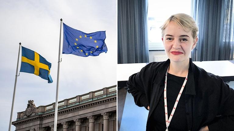 Delad bild: EU-flagga och kvinna.