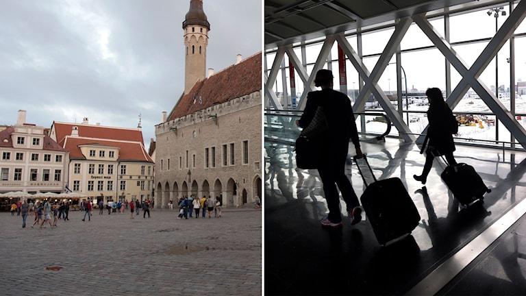 bild från Tallinn och bild på flygresenärer