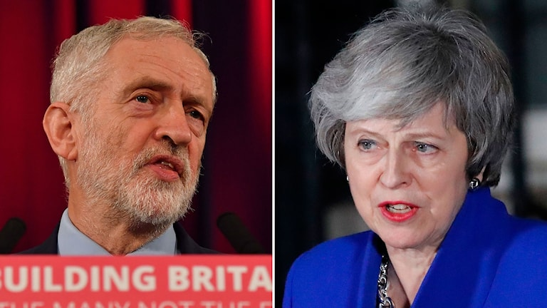 Jeremy Corbyn och Theresa May.