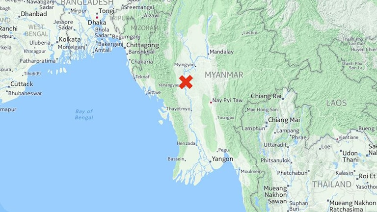 Jordbävningens centrum var nära staden Chauk, en stad tiotals mil nordost om huvudstaden Naypyidaw.