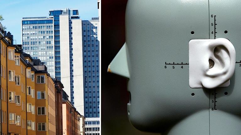 Till höger en docka med simulerade öron får ta emot trafikbullret som spelas in.