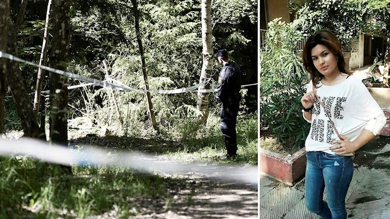 Polis och avspärrningar i skogsparti. Marzieh.
