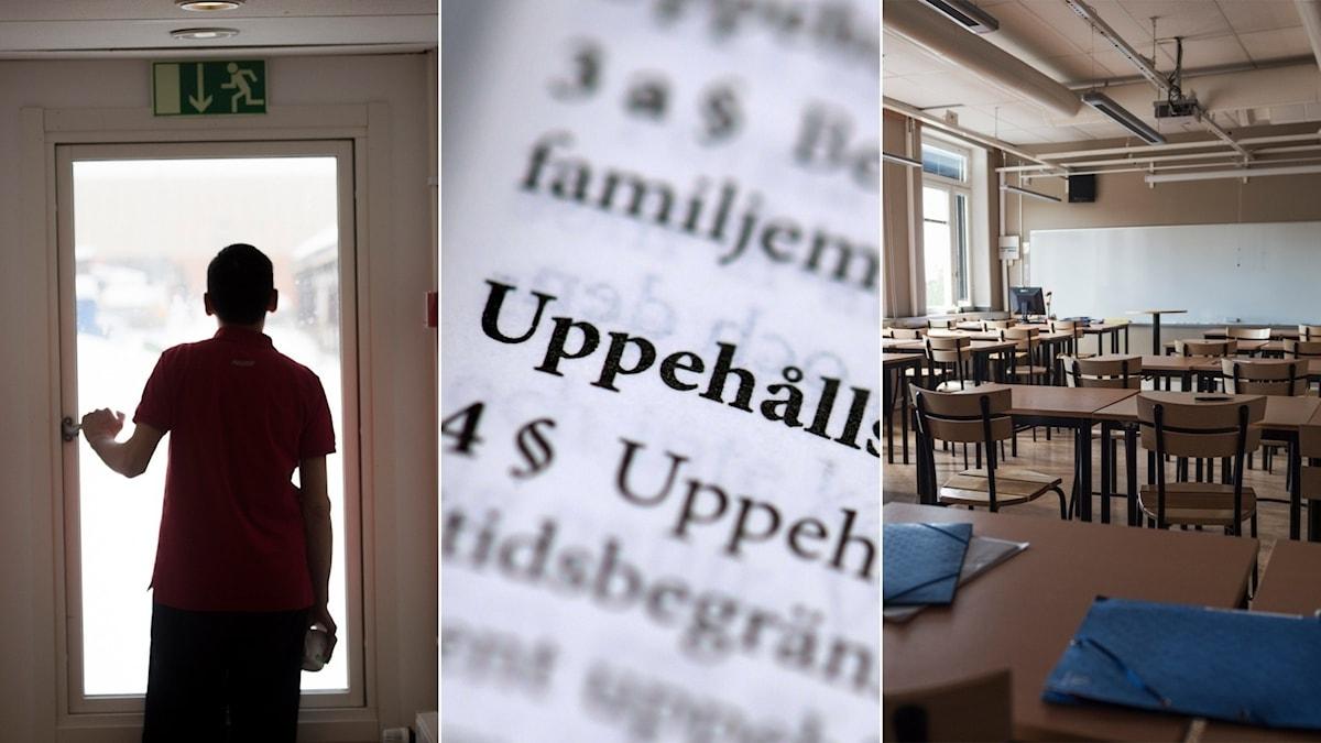 Tredelad bild: Ensamkommande i en dörröppning, text i en lagbok där det står Uppehållstillstånd, tomt klassrum i gymnasieskola.