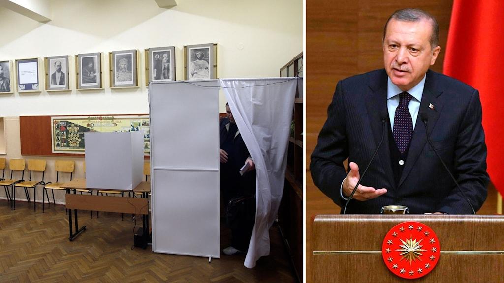 Delad bild: En vallokal i Bulgarien och Turkiets president Erdogan.