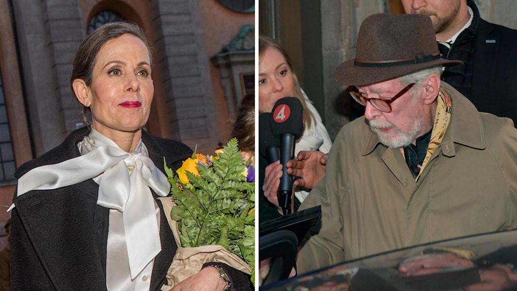 Sara Danius och Göran Malmqvist lämnar Börshuset i Gamla stan efter Svenska Akademiens sammanträde förra torsdagen.