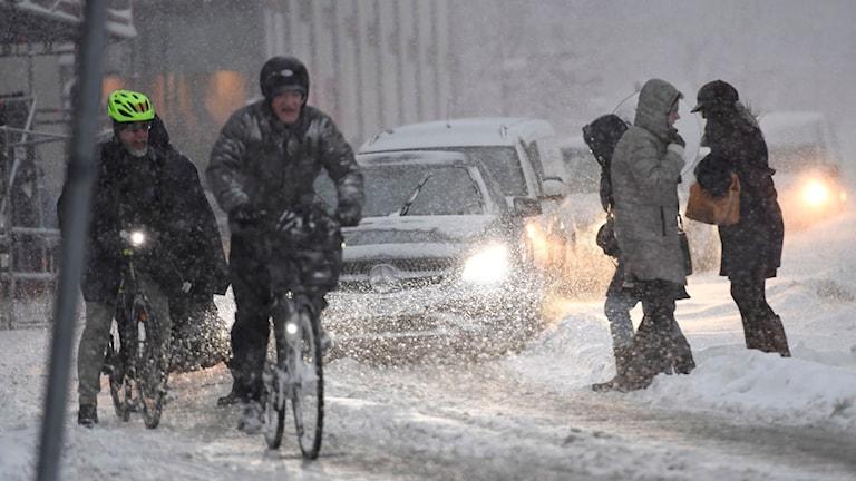Cyklister på en snöfylld gata i centrala Stockholm. Huvudstaden har bombarderats av snö under natten.