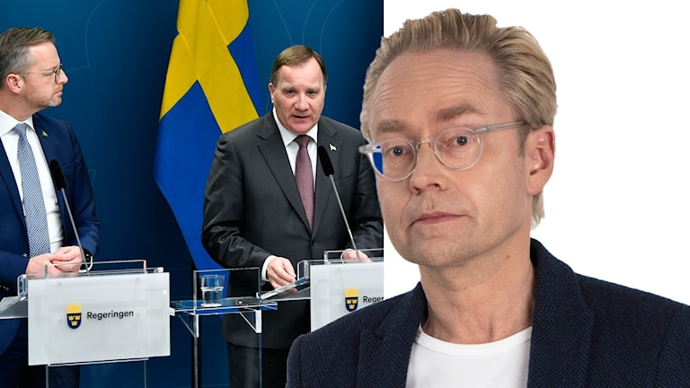 Bildsplit på Mikael Damberg, inrikesminister, statsminister Stefan Löfven och Ekots inrikespolitiska kommentator Fredrik Furtenbach.