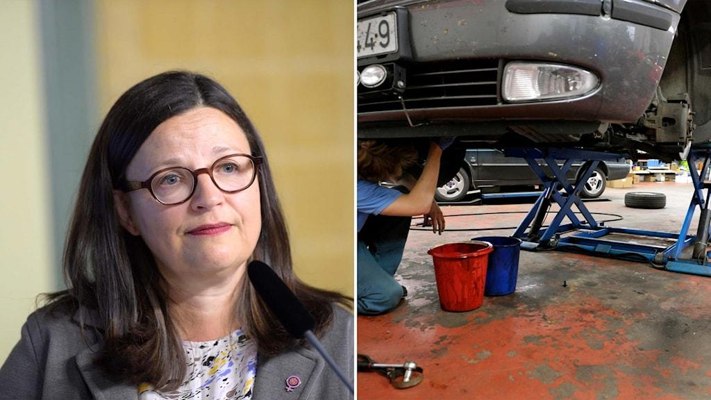 Delad bild: Gymnasieminister Anna Ekström och en bilmekaniker.