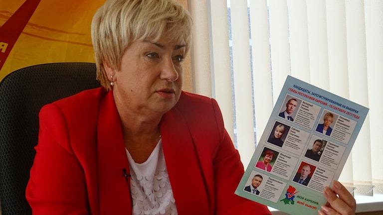 Irina Petjelajeva kandiderar i guvernörsvalet i Karelen, tillsammans med sex andra, utgången kommer avgöras av de orättvisa förutsättningarna anser hon. Foto: Maria Persson Löfgren
