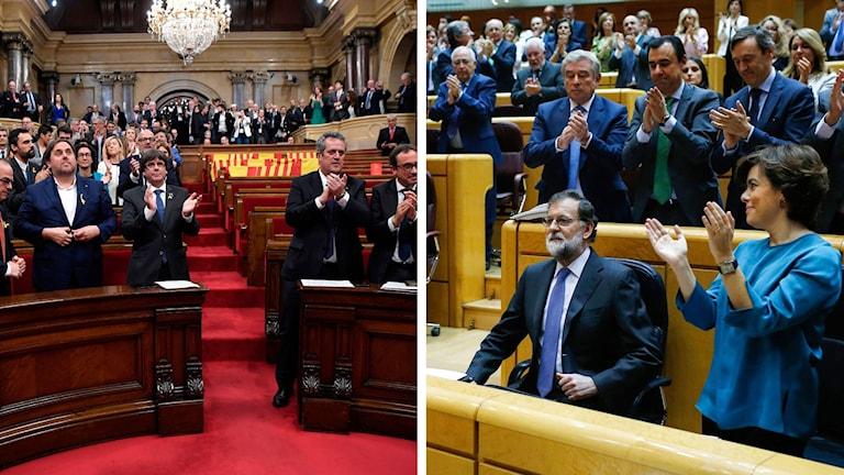 Parlamenten i Barceölona med Puigdemont och i Madrid med Rajoy